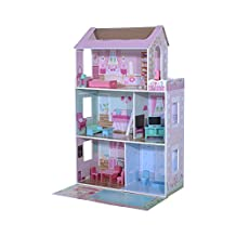 Homcom Doll House Cottage with Furniture Barbie Dream House Wooden Toy Dollhouse, Pink