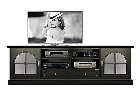 Porta Tv Lcd Vetro.Mobile Porta Tv Led Plasma Lcd Colore Nero Effetto Antico Con 2