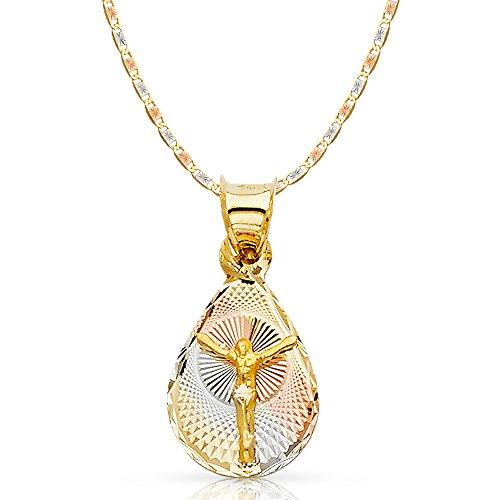 14K Tri Color Gold Diamond Cut Jesus Crucifix Stamp Charm Pendant with 2.1mm Valentino Chain Necklace - 16