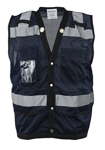 Ironwear 1279-BS-CID-4-XL Polyester SAFETY Vest with Snaps, Clear ID Holder, 2
