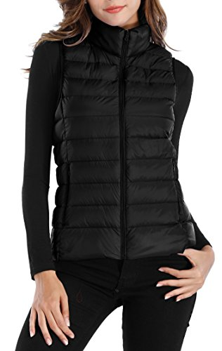 (Sarin Mathews Womens Packable Ultra Lightweight Down Vest Outdoor Puffer Vest Black XL)