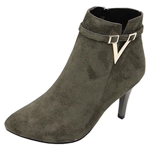 Binying Women's British Style Buckle Pointed-Toe Stiletto Zip Metal Ankle Boots Dark Green Nubuck