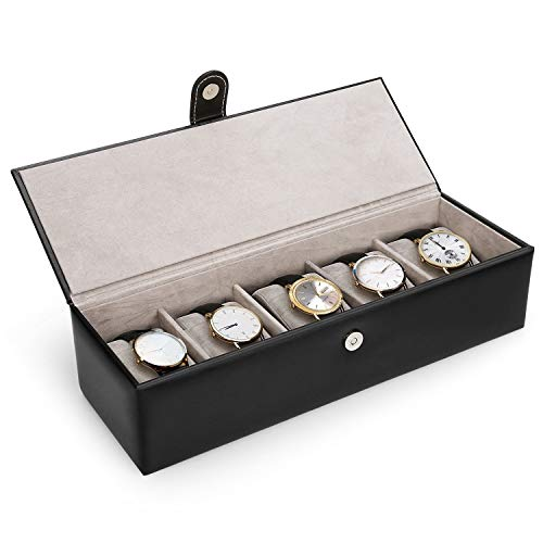 amzdeal Watch Box Watch Case 5 Grid Watch Holder Organizer Leather Jewelry Storage Display Case for Men and Women