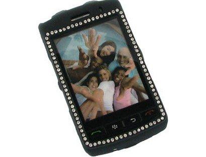 Rubberized Plastic Case with Diamonds Black For BlackBerry Storm 9500 9530 -