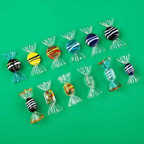 F-ber 12pcs Vintage Murano Style Glass Sweets Candy Ornament for Home Party Wedding Christmas Festival Decorations Gift (Party Places Christmas Trading)