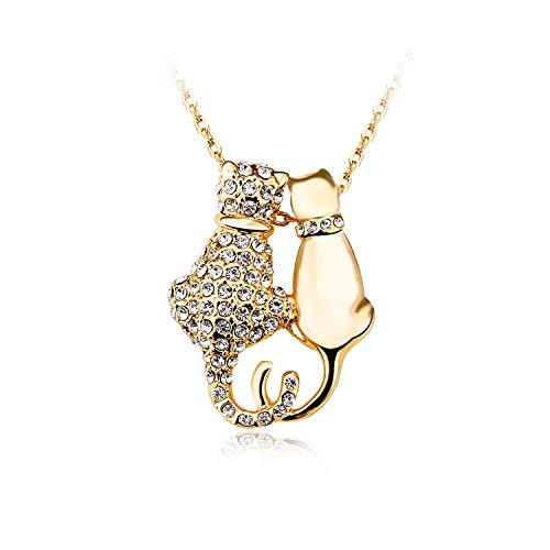 Plated Cat Pendant - Juliani 18k-Rose-Gold-Plated Two-Cats Pendant Necklace - Fashion Hypoallergenic 4 Carat Austrian Crystal Diamond | Nickel & Lead Free Chain Jewelry for Cat Pet Lovers | Women Girls | Kids Teens
