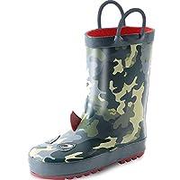 KushyShoo 3D Kids Rain Boots with Easy-On Handles, Rubber Rainboots for Girls & Boys (Toddler/Little Kids/Big Kids)