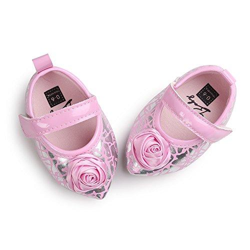 Estamico bebé niñas 'grandes rosas piel sintética punta Toe soporte de Mary Jane Prewalker zapatos rosa rosa Talla:0-6 meses Rosa