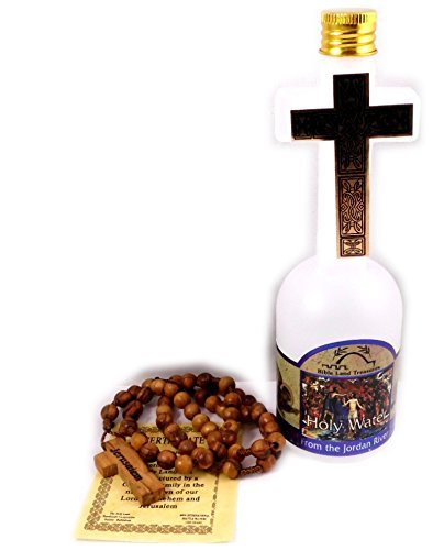 (Holy Land Olive Wood Rosary Beads From Jerusalem with Cross Holy Water Bottle From the Jordan River)