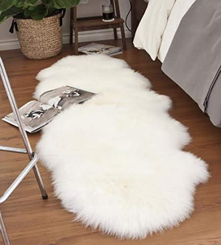 A-STAR Natural White Sheepskin Rug - 2 x 6 Double Genuine Sheep Skin Rug