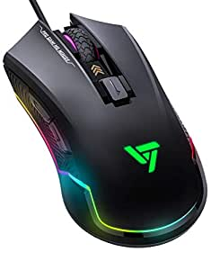 Gaming Mouse, VicTsing Pro RGB Gaming Mice Wired with 16.8 Million Chroma RGB Backlit, 7250 DPI, 6 Programmable Buttons for Gamer Computer PC - Black