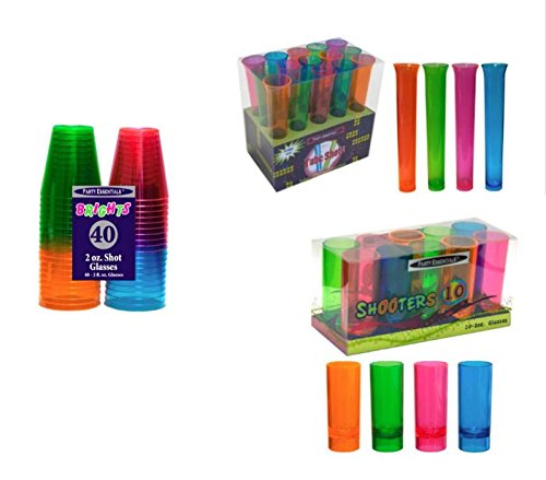 Shot Glass Pack Brights By Party Essentials  40  2Oz Shot Glasses  15  1 5Oz Tube Shots Box Set And 10  2Oz Shooter Glasses Box Set  Bundled By Oasis Mercantile
