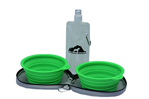 Northern Outback SUPERSIZED Travel Pet Bowls with Carrier – comes with 2 durable collapsible large 5 CUP green silicone travel dog bowls, grey canvas carrier and bonus water bottle – BPA FREE