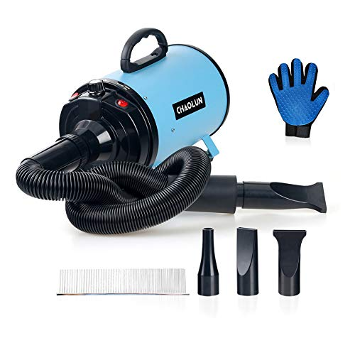 CHAOLUN Dog Dryer High Velocity Professional Pet Dog Blow Dryer 3.2HP - Dog Hair Grooming Dryer with Heater, Stepless Adjustable Speed, 3 Different Nozzles, a Comb and a Pet Grooming Glove