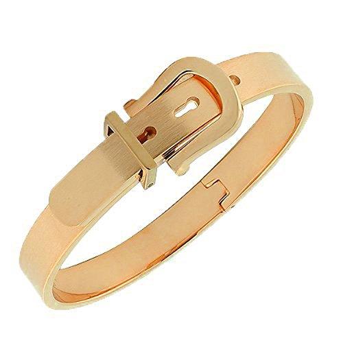 Stainless Steel Adjustable Belt Buckle Bracelets Bangle for Men/Women (Rose Gold) ()