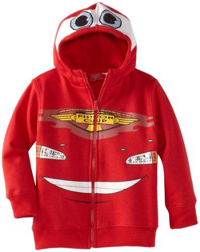 (Disney Little Boys' Cars Fleece Masked Hoodie, Red, 2T)