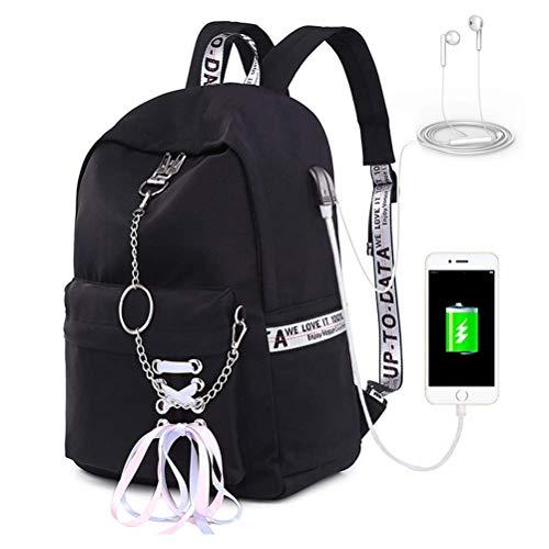 SAMAZ Teen Girl School Backpack with USB Charging Port 12-16 inch Laptop Bag Travel Rucksack Earphone Hole Fashion Casual Daypack