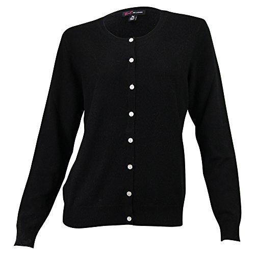 Urban Boundaries Women's 100% Cashmere Cardigan Sweater (Signature Black, Large 12-14) ()