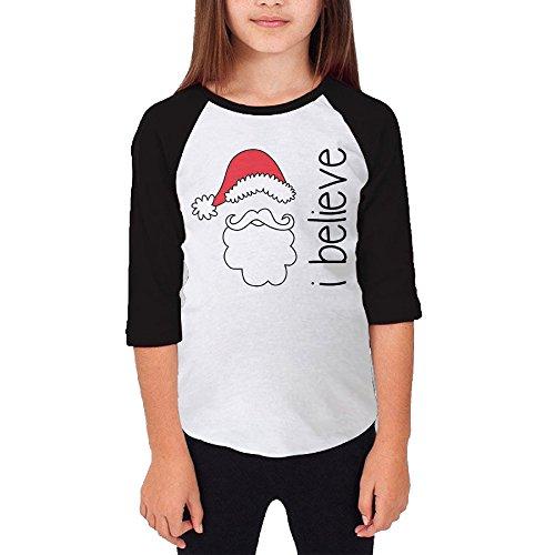 Autumn Youth I Believe Santa Crew Neck 3/4 Sleeves Raglan T Shirts Black US Size M Kobe Christmas 8 Shirt