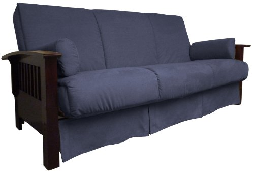 Brentwood Mission-Style Perfect Sit & Sleep Pocketed Coil Inner Spring Pillow Top Sofa Sleeper Bed, Queen-size, Mahogany Arm Finish, Microfiber Suede Dark Blue Upholstery ()