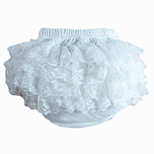 Lisianthus Baby Girls' Lace Ruffles Bloomers Diaper Cover White Size 6M