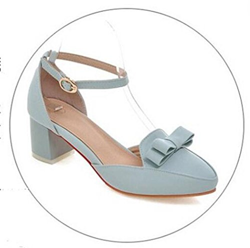 36 Light Tacón Boca Bow LIGHTBLUE Womens Closed Toe Cómodo Shallow 36 con Bajo Corte Bowle XIE Sandalias Blue Zapatos con Casual aCn4q88Bx