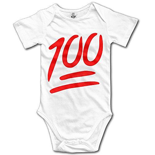 BADOU 100 Emoji For 6-24 Months Baby Short Sleeve Romper Bodysuit 6 M White by BADOU Shop