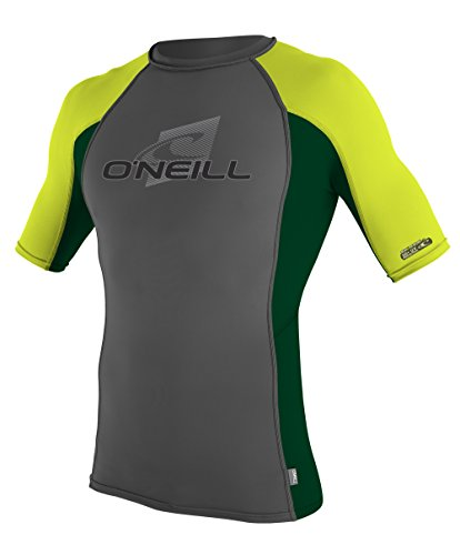 Unisex Short Sleeve Crew Shirt - O'Neill Wetsuits UV Sun Protection Youth Skins Short Sleeve Crew Sun Shirt Rash Guard, Graphite/Combat/Lime, 14