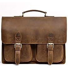 Jack&Chris Leather Briefcase 14'' Laptop Messenger Bag for Men,1805-2