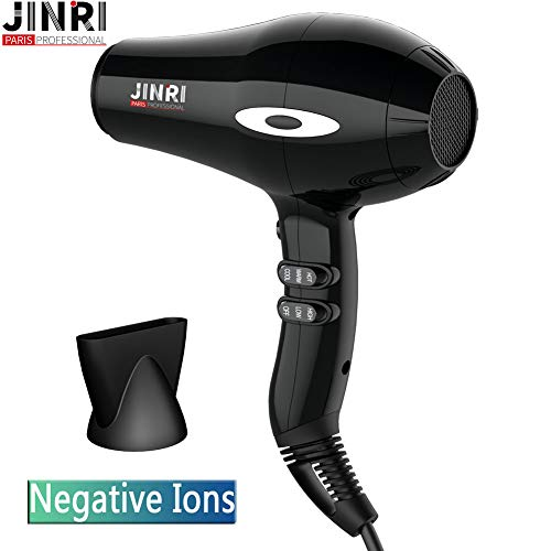 Jinri 1875w Professional Ac motor Powerful Ceramic Mid-size 3 Heat and 2 Speed with ionic conditioning Hair dryer,Travel,Lightweight hair dryer Blow Dryer Black Large