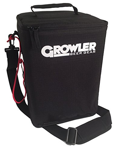 Growler Gear - Double Insulated Beer Growler Bomber Coolor - for 4 Bombers, Black (Growler Beer Carrier)