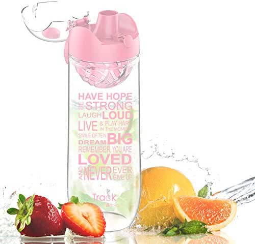 Artoid Mode 32oz Inspirational & Motivational Fruit Infusion Sports Water Bottle with Time Markings and Innovative Infuser, One-Click Flip Top and BPA Free