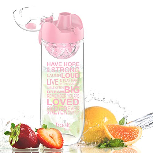 Artoid Mode 32oz Inspirational & Motivational Fruit Infusion Sports Water Bottle with Time Markings | Innovative Infuser | One-Click, Leak-Proof, Flip Top, BPA Free