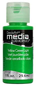 Deco Art Media Fluid Acrylic Paint, 1-Ounce, Yellow Green Light