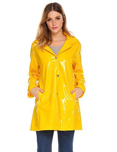 Dicesnow Women's Waterproof Raincoat Outdoor Hooded Rain Jacket Windbreaker (Raincoat Yellow Polyester)