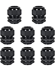 """8 Pack Cable Glands NPT 3/4"""", Strain Relief Cord Connector with Lock Nut and Gasket, Adjustable 12-18 mm Nylon Cable Gland IP68 Waterproof"""