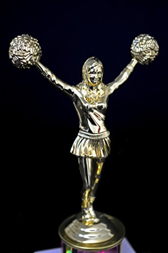 1st Place in Giving Zero Fcks Woman Trophy funny in gold and holographic pink with cheerleader cheerleading statuette by Get Bullish (Image #2)