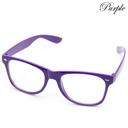 Doober Men Boy Women Girl Unisex Clear Lens Wayfarer Nerd Geek Glasses Eyewear 1pc (Purple, - Square Glasses Purple