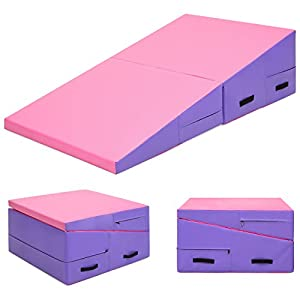 Best Choice Products 60x30x14in Folding 2 Panel Foam Cheese Wedge Incline Gym Mat for Tumbling, Aerobics, Cheer, Dance w/Handles Pink/Purple