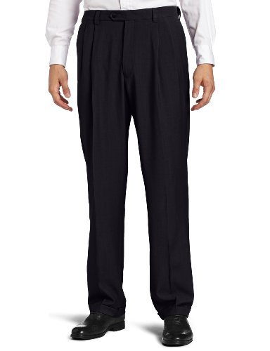 Haggar Men's Repreve Stria Gab Pleat Front Dress Pant,Navy,42x30