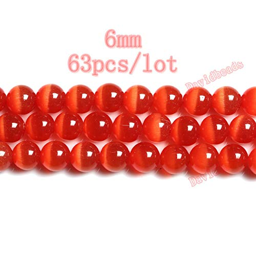 (Pukido Fctory Price Mixed Pink Blue Orange Red Opal Cat Eye Beads Loose Spacer Stone Strand 6mm 8mm 10mm 12mm for Jewelry Making DIY - (Color: Orange Red 6mm))