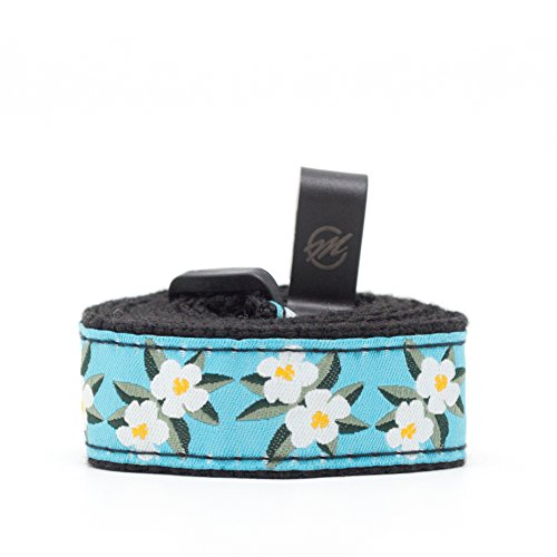 Button Free (CLOUDMUSIC Ukulele Strap Button Free Blue and White Floral Ukulele Strap with Hook For Soprano Concert Tenor Ukulele (White Flowers in Blue))