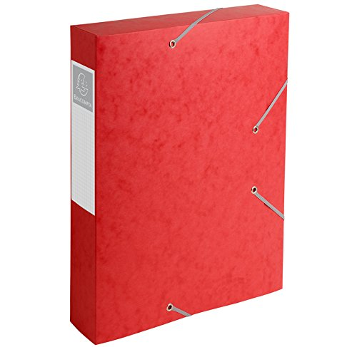 (Exacompta Cartobox Elasticated Box File with 3 Flaps and 6 cm Spine 5/10 Glossy Cardboard 24 x 32 cm Pack of 10 Red )