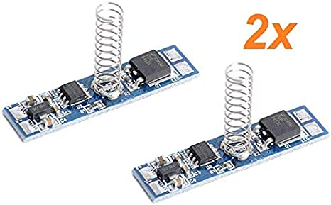 Aftertech® - 2 interruptores Dimmer Touch 12 V 24 V 8 A para perfiles de aluminio y tiras LED con indicador LED azul con memoria