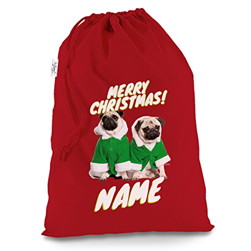 TWISTED ENVY Personalised Santa Costume Pugs Large Red Christmas Santa Sack Mail Post -