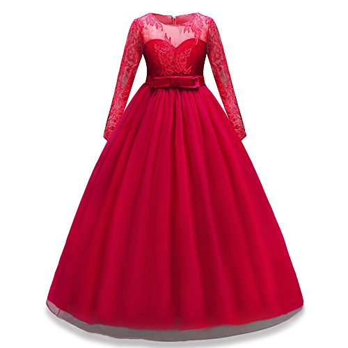 HUANQIUE Girls Lace Pageant Party Dress Wedding Flower Girl Maxi Gowns Long Sleeve Red 7-8 Years -
