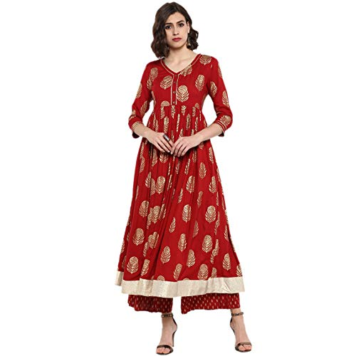 Designer Kurta Kurti Indian Ethnic Top Tunic Party Wear Women Dress Blouse (L) Maroon