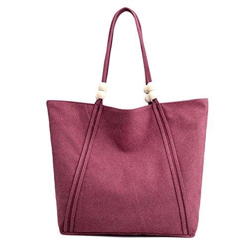 TENGGO Femmes Toile Casual Simple Capacité Tote Bag Sac À Main Sac À Bandoulière-Bleu Violet