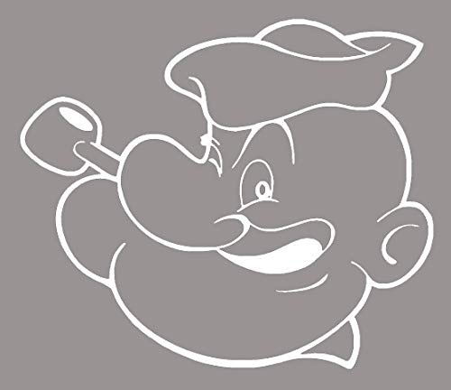 CCI145 - Popeye Face Decal White 5.25 x5.5 in]()