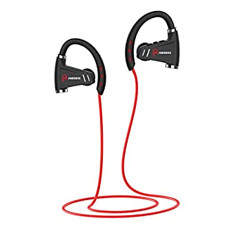 Bluetooth Headphones, IPX7 Waterproof Wireless Earbuds,HD Stereo and Noise Cancelling Headsets with 12 Hour Battery,Sweatproof Earphones for Running Sport-Red
